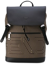 Fendi Striped Logo Backpack Men Cotton Calf Leather One Size Nude Neutrals