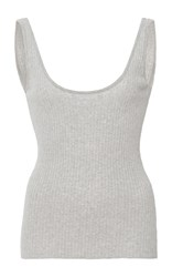 Frame Denim Scoop Back Ribbed Tank Light Grey