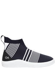 Adno Striped Knit Slip On High Top Sneakers