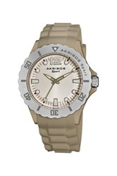 Akribos Xxiv Unisex Luminous Quartz Silicone Strap Watch Beige