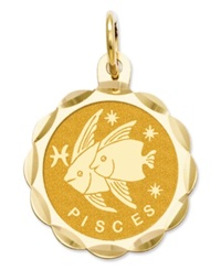 Macy's 14K Gold Charm Satin Polished Engraveable Pisces Zodiac Disc Charm