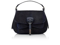 Fontana Milano 1915 Women's Wight Calf Hair Medium Saddle Hobo Bag Black Blueberry