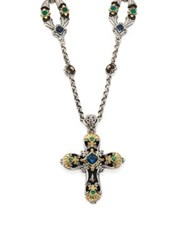 Konstantino Nemesis London Blue Topaz And Tsavorite Cross Pendant Silver Multi