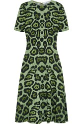 Givenchy Midi Dress In Green Leopard Print Stretch Cady
