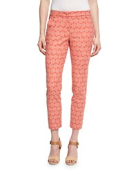 Peserico Geometric Print Cropped Pants Coral Taupe Coral Brown Women's