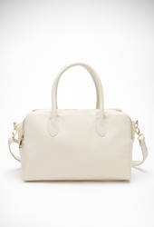 Forever 21 Dual Zippered Top Satchel Cream