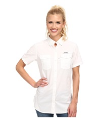 Columbia Bonehead Ii S S Shirt White Women's Short Sleeve Button Up