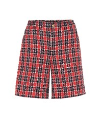 Gucci Checked Tweed Shorts Red
