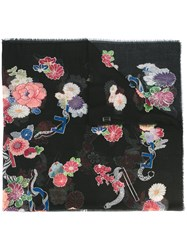 Saint Laurent Floral Scarf Black