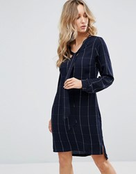 Sugarhill Boutique Pussy Bow Shirt Dress Navy