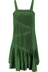 Tibi Pleated Silk Dress Green