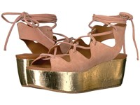 See By Chloe Sb24200 Golden Crosta Cipria Laminata Cork Women's Wedge Shoes Pink