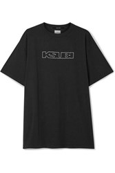 Ksubi Kendall Jenner Sign Of The Times Printed Cotton Jersey T Shirt Charcoal