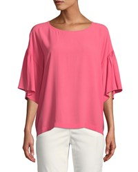 Eileen Fisher Scoop Neck Elbow Sleeve Silk Crepe Top Cherry Lane