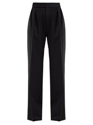 Saint Laurent High Rise Wool Herringbone Trousers Black White