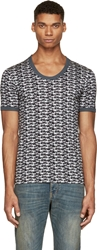 Dolce And Gabbana Black And Grey Dogs Print Scoop Neck T Shirt