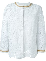 Ermanno Scervino Scalloped Hem Lace Jacket White