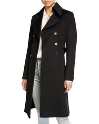 Fleurette Double Breasted Back Belt Wool Coat Black