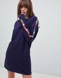Levi's Long Sleeve T Shirt Dress With Taping On Sleeve Blue