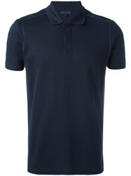 Lanvin Stitch Detail Polo Shirt Blue