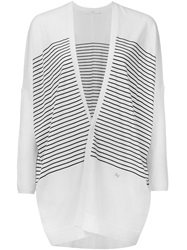 Astraet Striped Open Front Cardigan White