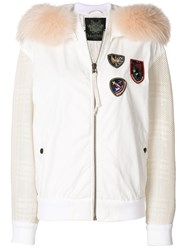 Mr And Mrs Italy Contrasting Sleeves Bomber Jacket White