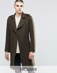 Underated Wool Trench Coat Khaki Green