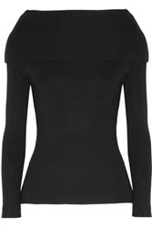 Toteme Jaca Off The Shoulder Ribbed Knit Sweater Black
