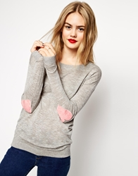 Asos Jumper With Pink Heart Elbow Patch Grey