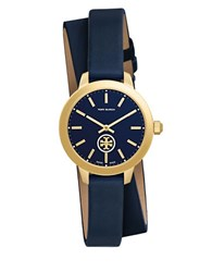 Tory Burch Collins Round Leather Band Wrap Watch Navy Blue