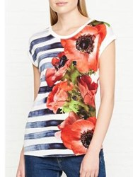 Karen Millen Striped Floral T Shirt Multicolour