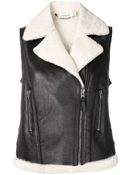 Coach Shearling Biker Vest Black