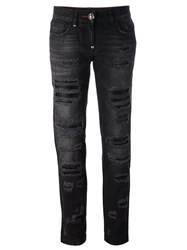 Philipp Plein Distressed Boyfriend Jeans Black