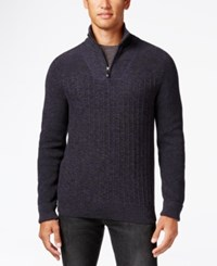 Vince Camuto Mixed Knit Sweater Navy Charcoal Black
