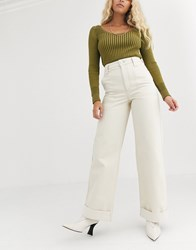 Topshop Wide Leg Jeans In Cream