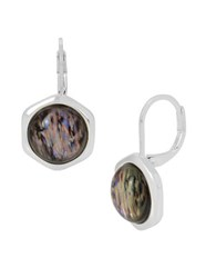 Kenneth Cole Hexed Geometric Abalone Stone Drop Earrings Silver