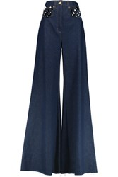 Natasha Zinko Cutout High Rise Wide Leg Jeans Dark Denim