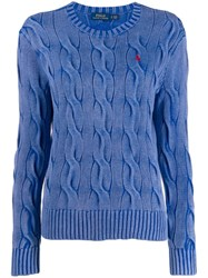 Polo Ralph Lauren Logo Embroidered Sweater Blue