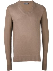 Dolce And Gabbana Contrast Sleeve Jumper Brown