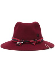 Maison Michel Fedora Hat Pink And Purple