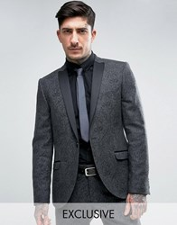 Heart And Dagger Skinny Tuxedo Blazer Charcoal Grey
