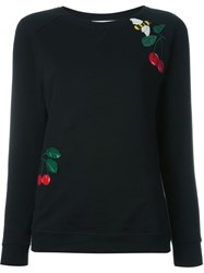 Red Valentino Cherry And Bee Applique Sweatshirt Black