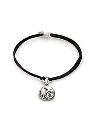 Alex And Ani Cat Charm Cord Bracelet Black Silver