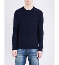 Armani Jeans Contrast Texture Knitted Jumper Navy