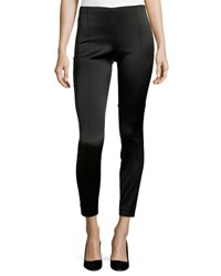The Row Cosso Skinny Satin Ankle Pants Black