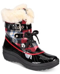 Anne Klein Gallup Cold Weather Booties Red Plaid