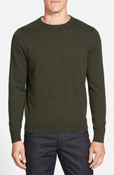 Nordstrom Men's Big And Tall Men's Shop Cotton And Cashmere Crewneck Sweater Green Deep Pine