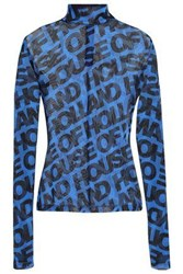 House Of Holland Woman Printed Tulle Top Blue