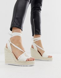 Juicy Couture Tie Ankle Espadrille Wedges White