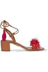 Aquazzura Wild Thing Fringed Suede And Leather Sandals Light Brown